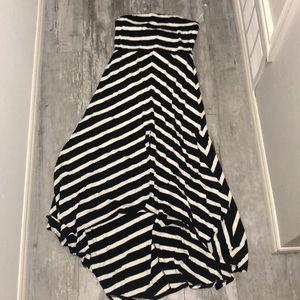 Black & white stripped strapless dress